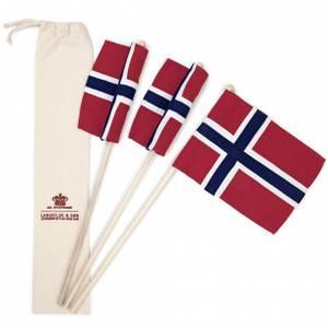 Bilde av 17. mai flagg 3 stk i brodert stoffpose