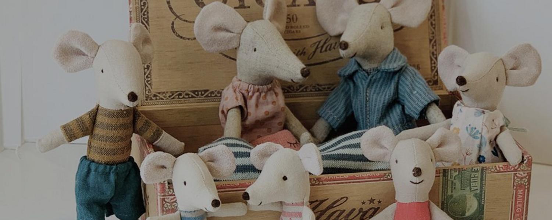maileg barn leker toys gaver bursdag feiring mus kanin maling blyant penner